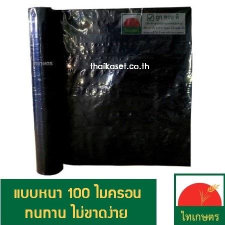 พลาสติกปูบ่อ ผ้ายางปูบ่อปลา ผ้าปูพื้น สีดำ 100 ไมครอน ตราไทเกษตร