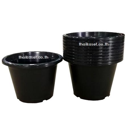 กระถางต้นไม้ กระถางดอกไม้ กระถางพลาสติกสีดำ ขนาด 8 นิ้ว Flowerpot (แพค5ใบ)