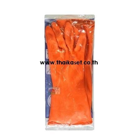 ถุงมือยางสีส้ม ถุงมือล้างจาน ทำความสะอาด AKASEN
